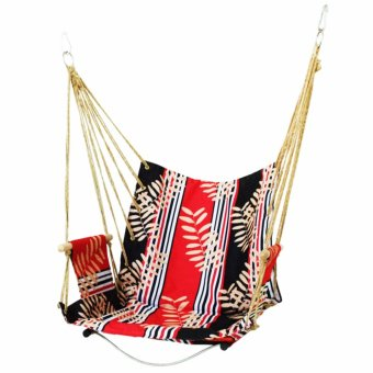 Indoor Outdoor Hanging Hammock Patio Swing (Red Black Leaf)