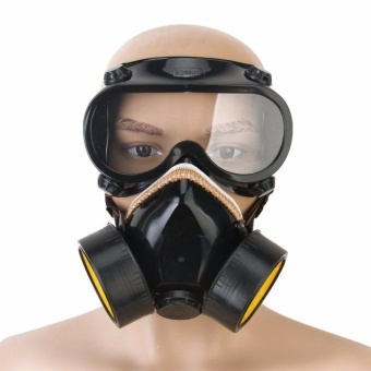 INDUSTRIAL CHEMICAL GAS ANTI-DUST SPRAY PAINT DUAL RESPIRATOR MASK WITH GOGGLES - intl