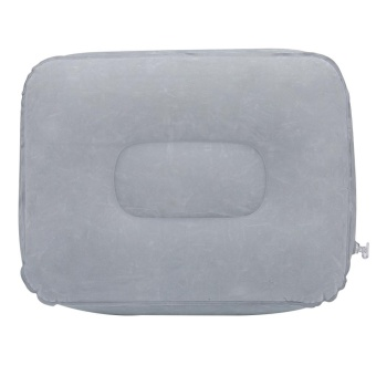 Inflatable Flocking Travel Foot Rest Pillow Travel Flights Relax Cushion With Air Pump(Grey) - intl - 4