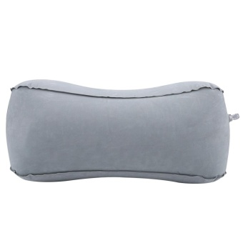 Inflatable Flocking Travel Foot Rest Pillow Travel Flights Relax Cushion With Air Pump(Grey) - intl - 3