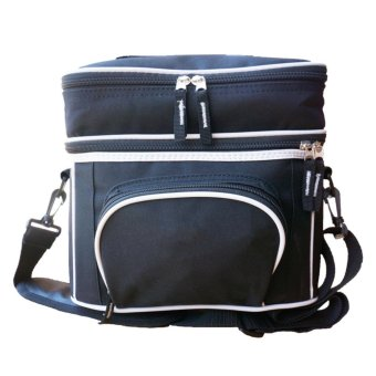 Insulated Lunch Bag Large Insulated Double Compartment Lunch BagWith Adjustable Shoulder Strap (Black)) - intl