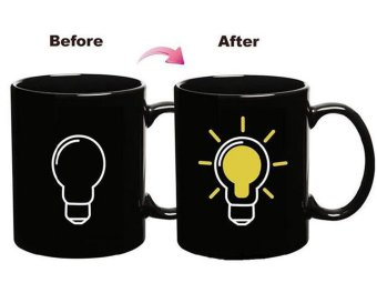 Iyach Heat Activated Design Light Bulb Changing Mug (Black) - 2