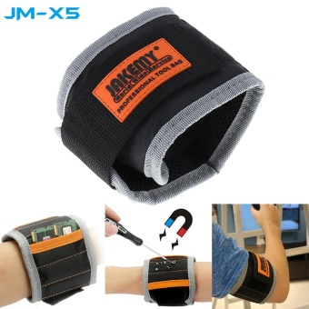 JAKEMY Magnetic Wrist-band Bracelet Belt Repair Tool Pocket for Holding Screw Nail / Drill Bit - intl Price Philippines