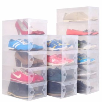 J&C Clear Plastic Shoe Storage Transparent Boxes Organizer10pcs.