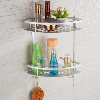 J&Chigh Quality 2 Tier Bathroom Storage Organizer Holder ShelfWith Hooks T503 Price Philippines