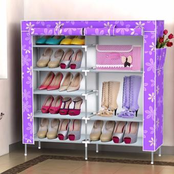 J&J 6-Tier Double cabinet Shoe Rack Storage Cabinet Organizer