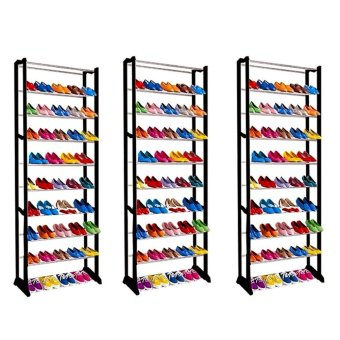 J&J High Quality Amazing Shoe Rack Set of 3 (Black)
