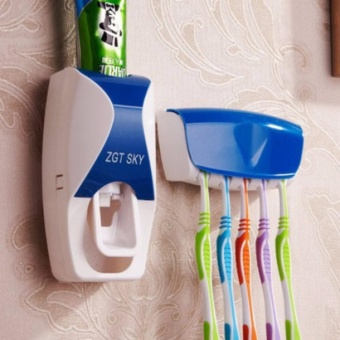 J&J New Design Hands Free Toothpaste Dispenser with ToothBrushHolder