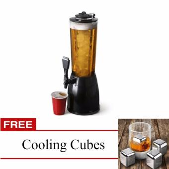 J&J New Ice Core Drink Beverage Dispenser Cold Juice Beer Cocktail Party with FREE Stainless Steel Cooling Cubes