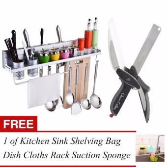 J&J Storage Rack Organizer Shelf and Clever Cutter 2 in 1Kitchen Knife & Cutting Board Scissors Stainless Steel withFREE 1 of Kitchen Sink Shelving Bag Dish Cloths Rack Suction SpongeHanging Drain Holder