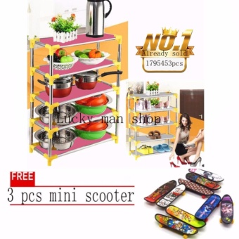 JAPAN and USA best selling free 3PCS MINI SCOOTER 2 in 1 Stackable4-Layer Shoe Rack & storage rack