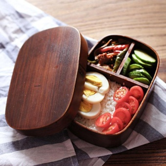 Japanese Bento Boxes Wood Lunch Box Handmade Natural Wooden SushiBox Tableware Bowl Food Container - intl