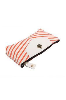 Jetting Buy Student Pen Pencil Case Navy Canvas Orange - picture 2