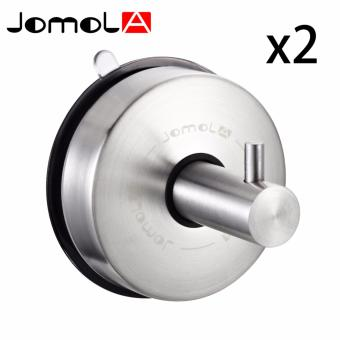 JOMOLA 2PCS SUS 304 Stainless Steel Suction Cup Hook Single Coat Hook Removable Bathroom Shower Towel Hook Kitchen Wall Hook Strong and Heavy Duty Contemporary Style Brushed Finish