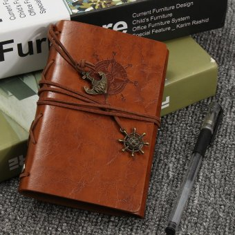 Journals Handmade Brown Vintage Travel Bound Imitation leather Cover Notebooks - intl