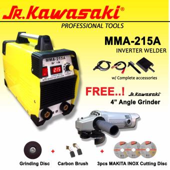 JR Kawasaki MMA-215 Inverter Welding Machine (Yellow) Plus Jr Kawasaki Angle Grinder