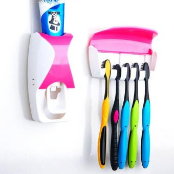 Keimav Hands Free Toothpaste Dispenser Automatic Toothpaste Squeezer and Holder Set (Pink)