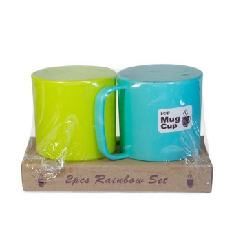 Kelsey Japanese Plastic Microwavable Water Mug Set of 2(Blue/Green)