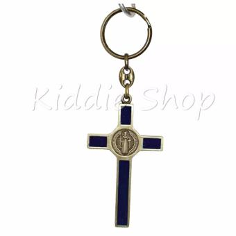 KEYCHAIN CROSS HOLY CATHOLIC (BLUE VINTAGE BRONZE) - 3