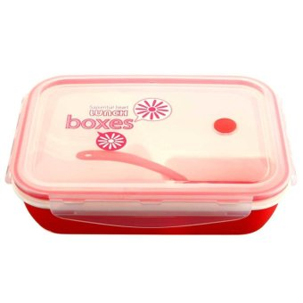 Kids Soup Bowl Spoon Food Picnic Container Lunch Bento BoxMicrowave Tableware Pink