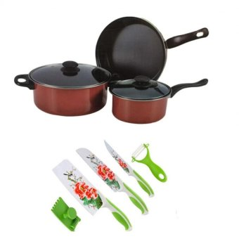 King's Dazzle Color Non-Stick Pan 5 Piece Set (Red/Black)with Stainless Steel Non Stick Flower Printing Ceramic Knife Set of 5