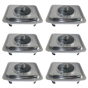 King's Rectangular Stainless Steel Food Warmer Tray Container Set of 6 (Silver)