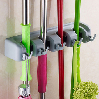 Kitchen 4 Position Wall Mounted Mop Brush Broom Organizer Holder Tool Rack - Intl
