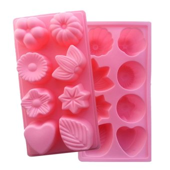 Kitchen baking supplies Flower-shaped leaves cake mold (Pink) Price Philippines
