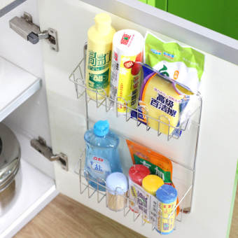 Kitchen cabinet door rack shelf