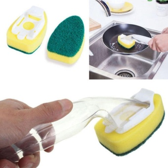 Kitchen Cleaning Brush Refill Dish Wand Brush Pan Soap DispensingScrubber - intl