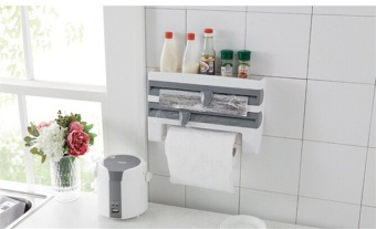 Kitchen Cling Film Storage Rack With Slicer Cutter Aluminum FoilToilet Paper Holder Wall Shelf Kitchen Accessories - intl