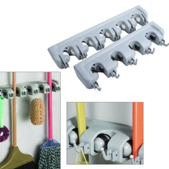 Kitchen Mop Broom Holder Wall Mounted Organizer Storage HangerRack(4 Positions and 5 Hooks) - intl