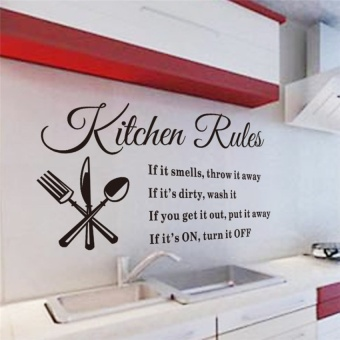kitchen rules vinyl wall stickers quotes for kitchen roomindoorwall art decor diy removable decals decoration - intl