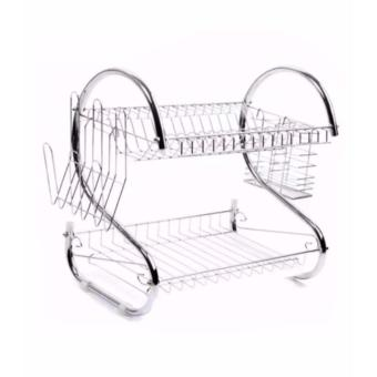 Kitchen S Shape Dual Layer Plate Bowel Cup Cutlery Dish Drainer Dryer Drip Tray Storage Rack Holder
