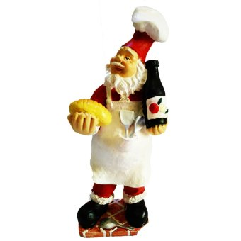 Kitchen Santa Claus Baker Chef with Bread and Wine Figurine for the Holiday (Made of Fiberglass Resin) by Everything About Santa (Christmas decoration and gift suggestion)