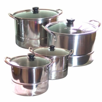 Kitchen Stainless Steel Cookware Stockpot Cooking Ware 4-Piece Set