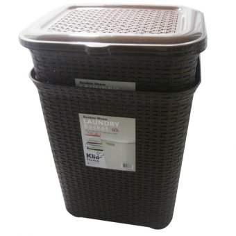 Klio Laundry Basket Woven Style with cover 0306 Set of 2 (Brown) - 5