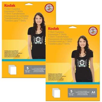Kodak Heat Transfer Paper for Dark Color T-Shirt A4 (5 Sheets perPack ) Pack of 2