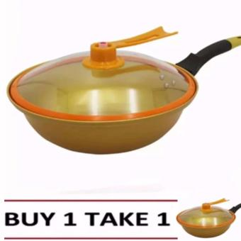 Korean Golden Vacuum Skillet 32 cm Wok non-stick Ceramic Fry Panwith loop handle 698 (Golden Yellow) Buy1Take1