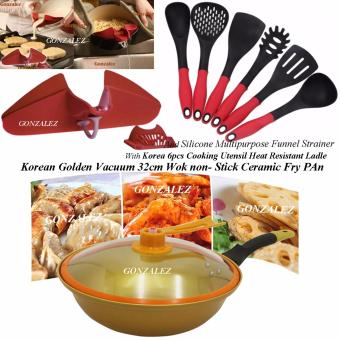 Korean Golden Vacuum Skillet 32 cm Wok non-stick Ceramic Fry Panwith loop handle 698 (Golden Yellow) with Free Korea 6pcs CookingUtensil Heat Resistant Ladle (Red/Black) and Silicone MultipurposeFunnel Strainer (Red)
