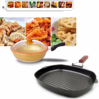 Korean Golden Vacuum Skillet 32 cm Wok non-stick Ceramic Fry Panwith loop handle 698 (Golden Yellow) with Non-stick Square GrillPan 28cm