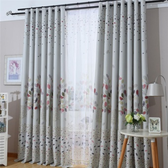 Korean style garden curtain floral printing Blackout curtain forliving room bedroom window custom made curtain drape homedecoration - intl