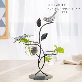 Korean style wrought iron hydroponic glass vase
