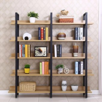 KRUZO Minimalist Wood-Steel 5-Layer Storage Bookshelf Shoe Rack(120cm x 30cm x 182cm)