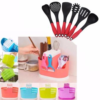 KT-003 Multifunction Knife Holder 3 Grid Chopsticks Spoon StorageRack Kitchen Accessories Knife Blocks & Storage (Pink) withKorea 6pcs Cooking Utensil Heat Resistant Ladle (Red/Grey)