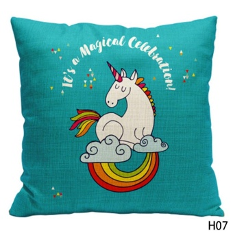 Kuhong Fashion Unicorn Pattern Linen Pillow Case Cushion CoverPillowcase Home Decor H07 - intl