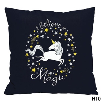 Kuhong Fashion Unicorn Pattern Linen Pillow Case Cushion CoverPillowcase Home Decor H10 - intl