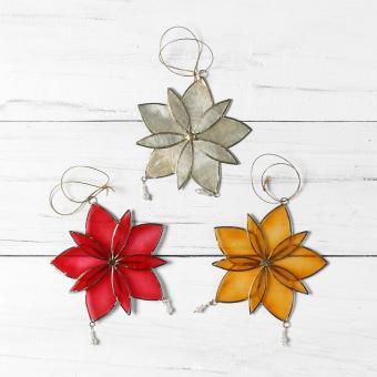 Kultura Capiz Poinsettia Ornaments (Set of 3)