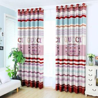 KurstenShop 2pcs Classic Gucci Design Curtain with Round rings