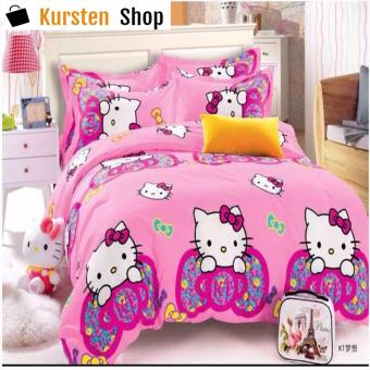 KurstenShop 4in1 Bedsheet POLY COTTON HELL0 Kitty Ribbon Design(2 pcs pillow case , 1pcs fitted and 1pcs bedsheet)SINGLE